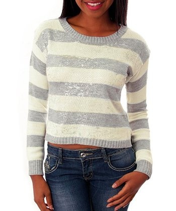 Gray & Ivory Stripe Cropped Sweater