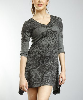 Charcoal & Gray V-Neck Handkerchief Dress