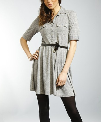 Gray Hatchi Belted Shirt Dress