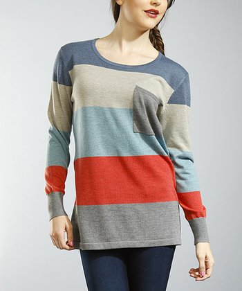 Gray & Coral Stripe Tunic