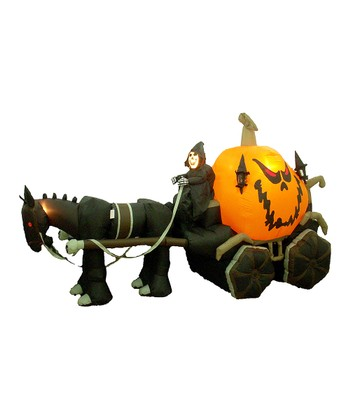 Skeleton & Carriage Inflatable Light-Up Lawn Decoration