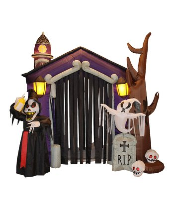 Haunted House Inflatable Light-Up Lawn Decoration