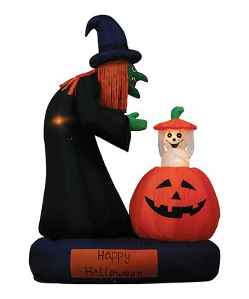Witch & Rising Ghost Inflatable Light-Up Lawn Decoration