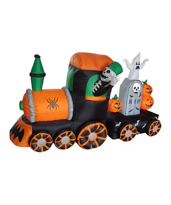 Skeleton & Train Inflatable Light-Up Lawn Decoration