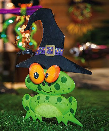 Witching Hour Frog Wizard Garden Stake