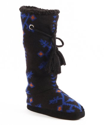 Black Grace Tribal Slipper Boot- Women
