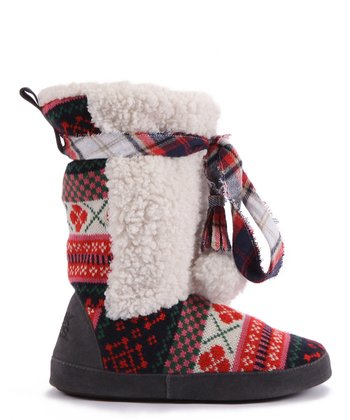 Red Jewel Slipper Boot - Women