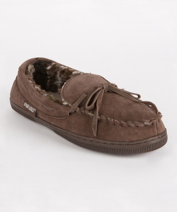 Chocolate Men's Printed Berber Suede Moccasin - Men