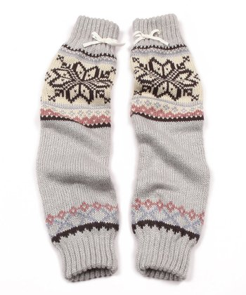 Silver Snow Bunny Sleeve Arm Warmers - Women