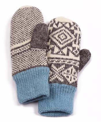 Gray North American Button Mittens - Women