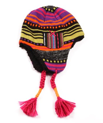 Black Guatemalan Earflap Hat - Women