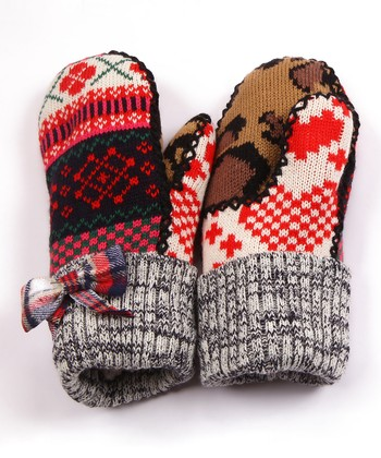 Red Mix It Up Plaid Bow Mittens - Women