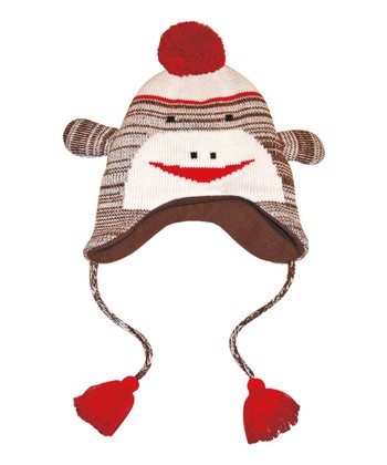 Brown Sock Monkey Earflap Hat - Women & Kids