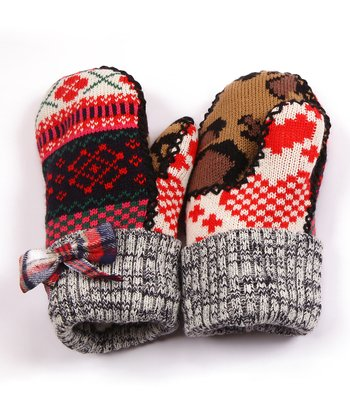 Red Plaid Bow Mittens - Kids