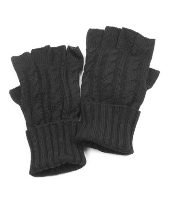 Black Cable Knit Fingerless Gloves - Men