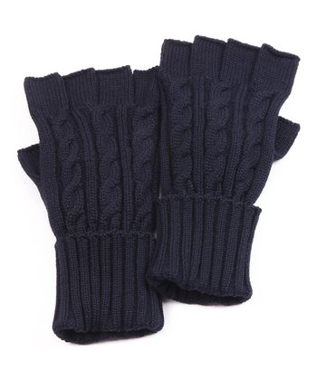 Navy Cable Knit Gloves - Men