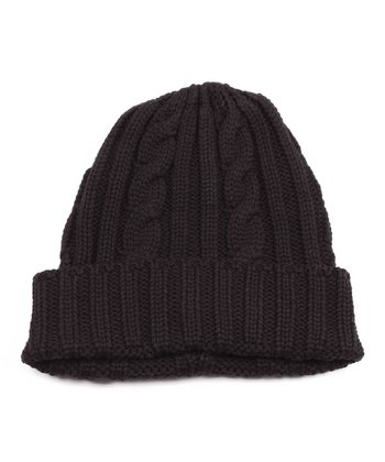 Black Cable Knit Beanie - Men