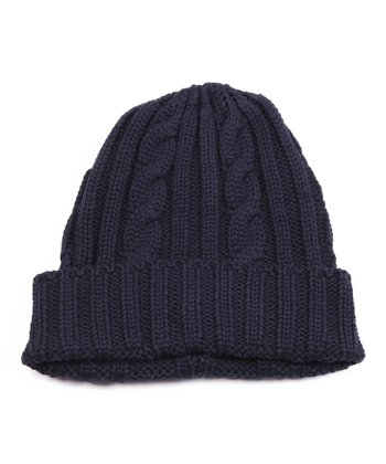 Navy Cable Knit Beanie - Men