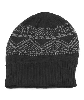 Black Fleece Lined Beanie - Men