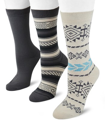 Gray & White Southwest Crew Socks Set - Women