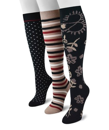 Tan & Black Traditional Knee High Socks - Set of Three - Women