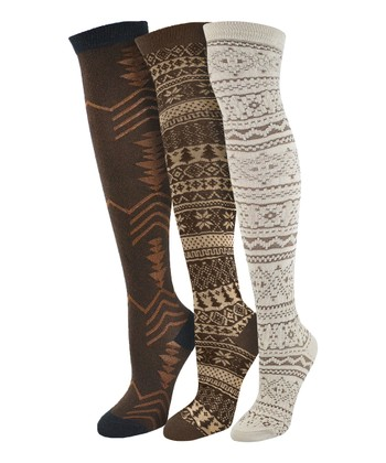 Brown Over-The-Knee Socks Set - Women