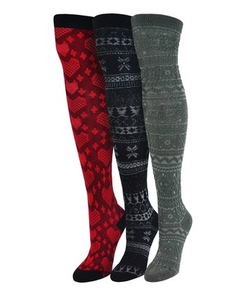 Red & Black Over-The-Knee Socks - Set of Three - Women