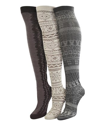 Gray & White Over-The-Knee Socks – Set of Three - Women