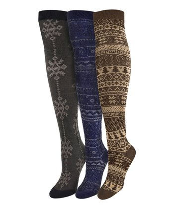 Brown & Navy Over-The-Knee Socks - Set of Three - Women