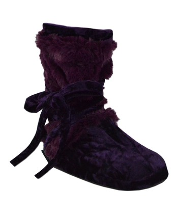 Plum Faux Fur Wrap Boot - Women