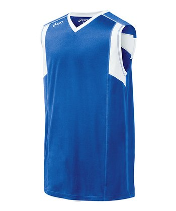 Royal Blue & White Top Spin Jersey - Women