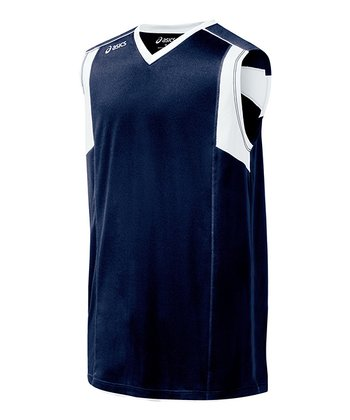 Navy & White Top Spin Jersey - Women