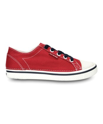 Dark Red & White Deco Canvas Sneaker