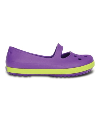 Neon Purple & Citrus Crocband™ Airy Hearts Flat