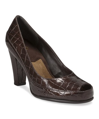Brown Big Ben Peep-Toe Pump
