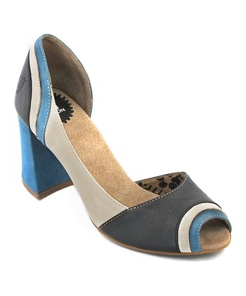 White & Blue Leather Cate Pump