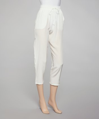 White Suzette Silk Pants