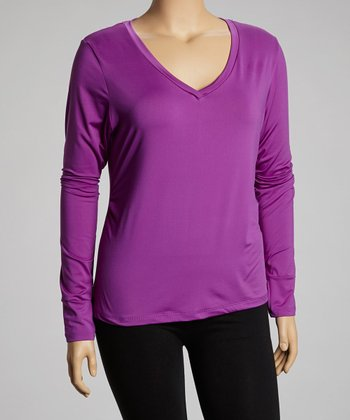 Purple Long-Sleeve V-Neck Top - Plus