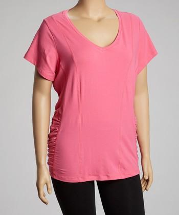 Pink Ruched Slim V-Neck Top - Plus