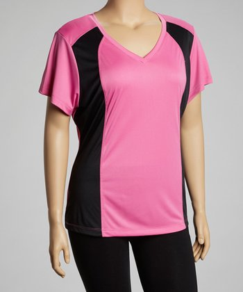Pink & Black Panel V-Neck Top - Plus