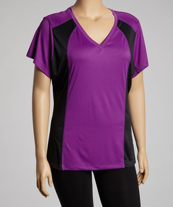 Purple & Black Panel V-Neck Top - Plus