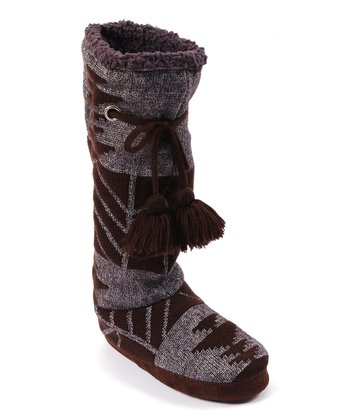 Brown Grace Tribal Block Tall Slipper Boot - Women