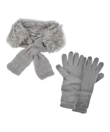Gray Faux Fur Neck Wrap & Texting Gloves - Women
