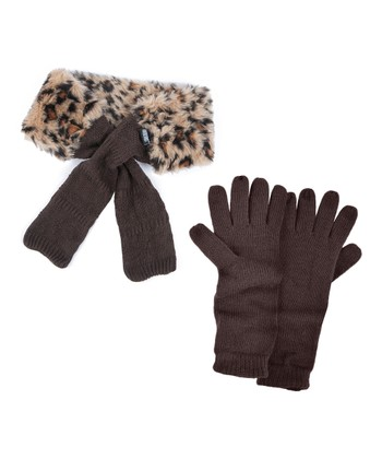 Java Faux Fur Neck Wrap & Texting Gloves - Women