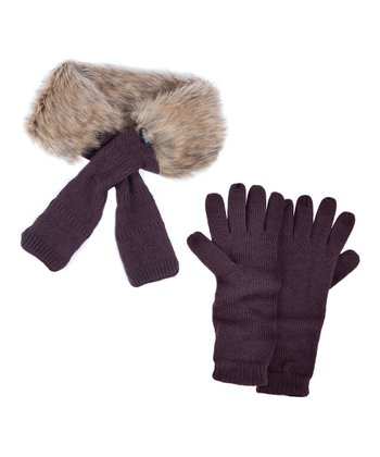 Eggplant Faux Fur Neck Wrap & Texting Gloves - Women