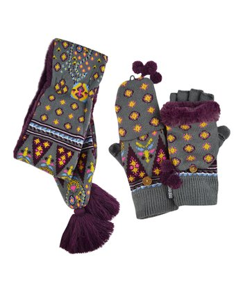 Gray & Plum Tassel Scarf & Gloves - Women