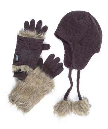 Eggplant Earflap Beanie & 3-in-1 Gloves - Women