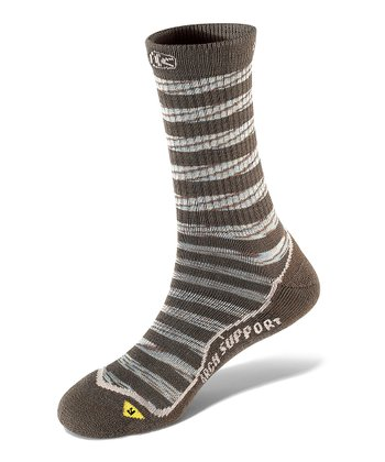 Black Olive Concord Stripe Lite Wool-Blend Crew Socks - Women