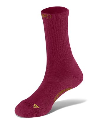 Beet Red & Warm Olive PTC Lite Wool-Blend Crew Socks - Women