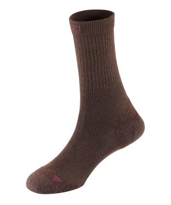 Chocolate Brown Clifton Ultralite Crew Socks - Women